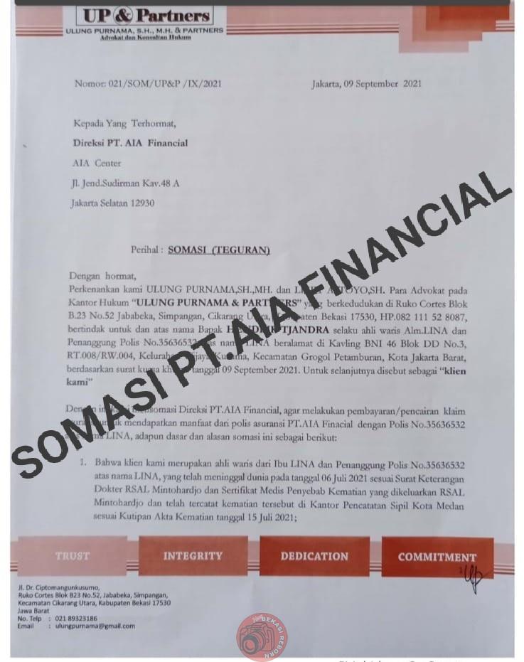 News Bekasi Reborn PT.AIA Financial di SOMASI Pengusaha Muda Hendrik Tjandra (Ahli Waris Ibu Lina)